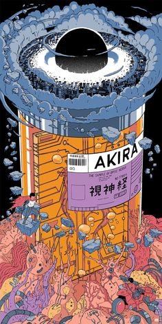 """""""Akira"""" by Laurie Greasley - Hero Complex Gallery Retro Wallpaper, Aesthetic Iphone Wallpaper, Aesthetic Wallpapers, Japanese Graphic Design, Japanese Art, Aesthetic Anime, Aesthetic Art, Cyberpunk Kunst, Akira Anime"""