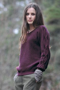 Love the sleeves. I prefer it in white but couldn't find a good picture. Brora cashmere moss stitch jumper.
