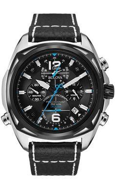 Bulova 98B226 - Reloj analógico para hombres, correa de cuero, color negro
