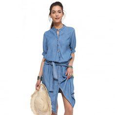 "XINUO Women's Fashion V Neck Casual Irregular Slim fold Denim Dress (S,Light Blue)). Clothing Bust (cm/in): S:92/36.2"",M:96/37.8"",L:100/39.4"",XL:104/40.9"". Clothing Waist (cm/in):S:68/26.8""-92/36.2"",M:72/28.3""-96/37.8"",L:76/29.9""-100/39.4"",XL:80/31.5""-104/40.9"". Clothing Sleeve (cm/in):S:29/11.4"",M:30/11.8"",L:31/12.2"",XL:32/12.6"". Clothing Length (cm/in):S:90/35.4""-108/42.5"",M:92/36.2""-110/43.3"",L:94/37.0""-112/44.1"",XL:96/37.8""-114/44.9"". Fashion V Neck Casual Sexy Sexy Irregular Slim…"