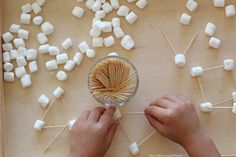 Give preschoolers an opportunity to learn from the marshmallow and toothpick building challenge!