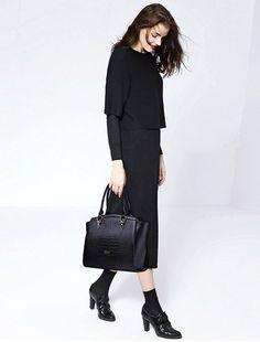 CLUCI Women's Crocodile Leather Handbag Purse Shoulder Tote Top-handle Bag Black: Handbags: Amazon.com