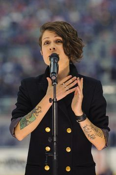 Tegan Rain Quin (EDITORIAL USE ONLY) Tegan Rain Quin, of Tegan and Sara, performs during the first intermission during the 2014 Tim Hortons ...