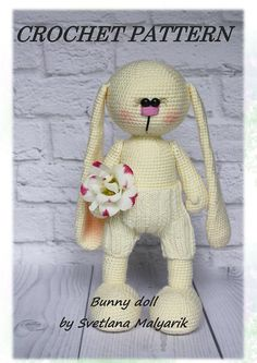 """Hello! Are you ready to crochet this adorable Bunny doll? You may do it following my tutorial pattern. It is step-by-step description of 32 cm toy Bunny + my advice and answers to questions at any stage of crocheting. Also, you may purchase the additional set of clothes """"golden"""