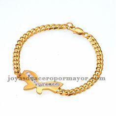 pulsera de mariposa con cristal de dorado en acero-SSBTG334141