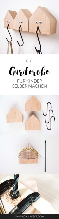 DIY Garderobe einfach selber bauen! Die niedliche Kindergarderobe aus Holzhäuschen sieht nicht nur im Kinderzimmer schick aus!