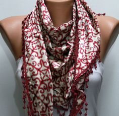Red Shawl Scarf  - by fatwoman, $17.00