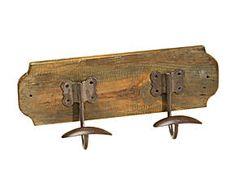 Perchero de pared de madera y hierro - marrón
