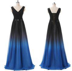 Elegant A-Line Prom Dresses,V-Neck Evening Dress,Chiffon Floor Length Gardient Prom/Evening Dress with Belt, Multi Color Party Dress,111043075