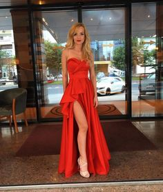 Cute A Line Sweetheart Red Sain Ruffled Slit Prom Dresses Under Unique Evening Party Dresses Prom Dresses Under 100, Prom Dresses 2017, Prom Party Dresses, Gala Dresses, Party Outfits, Mint Bridesmaid Dresses, Simple Prom Dress, Slit Dress, Dream Dress