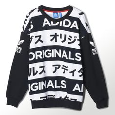 adidas Originals makes a statement in any language. Black and white bands of Japanese katakana characters give bold graphic style to this women's fleece sweater. $80.00