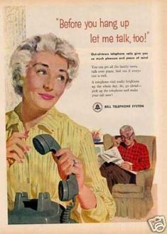 Bell Telephone System (1958) Everyone had to have a turn on the phone talking to grandma & grandpa.