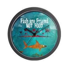Fish are friend not food poker Wall Clock