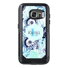 Blue Watercolor Paisley Print w/Full Name Monogram OtterBox Samsung Galaxy S7 Case