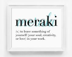 Printable Art Printable Poster Meraki by GirlFridayPaperArts