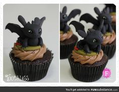 Toothless Cupcakes - OMFG those are so stinkin CUUUTE!