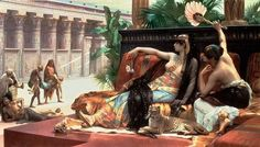 """Cleopatra Trying Out Poisons on Her Lovers, 1887, oil on canvas by Alexandre Cabanel, 1823-1889, French painter and teacher.  This painting is also known as Cleopatra Testing Poisons on Condemned Men. In any case, Cleopatra seems little moved by the scene. It's sort of """"all in a day's lounge.""""   Cabanel was popular during his lifetime, but interest in his work faded after his death."""