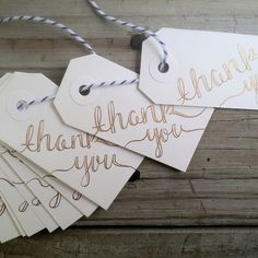 """Gold """"Thank You"""" Tag, Set of 25 Tags, Hand Lettered Gift Tag, Thank You Note, Wedding Favor Tag, Hand Lettered Paper, by alittlepapery on Etsy"""