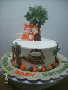 Woodland Animals Baby Shower Cake by cakesbychris