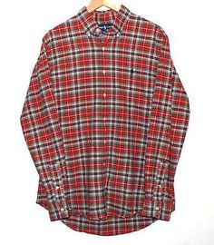 Polo Ralph Lauren Custom Fit Red & Green Flannel Plaid Button Front Size L