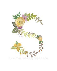 S floral Print par Makewells sur Etsy                                                                                                                                                      Plus