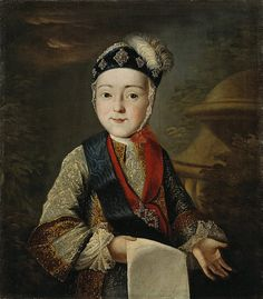 Portrait of child (later Emperor) Paul I Petrovich Romanov (1 Oct 1754-23 Mar 1801) Russia by unknown artist in mid 1700's.