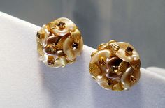LERU Lucite Amber Brown Earrings from Suzy's Timeless Treasures on Ruby Lane