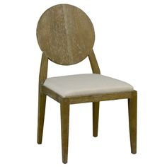 The Raleigh side chair seats guests with chic modernity. An updated circular backrest hints at classic Queen Anne-inspired design, while slim, tapered legs exude fresh style. A Sunbrella linen dove completes the look. 20in W x 23in D x 36.5in H. Oak. Sunbrella linen dove. Minimum purchase of 2 .