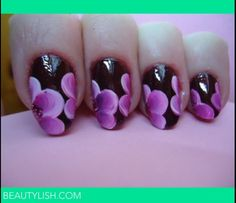 Purple orchids on Black nails