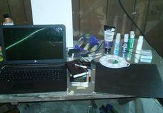 My fancy high tech work space! #art #paint #garageoffice