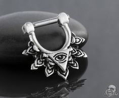Sterling silver third eye seamless septum ring