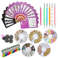 Nail Art Tools Decoration Manicure Pedicure Tool Set Kit Nail Stickers, 5 Boxes Nail Beads Rhinestones Stone Gold Metal Nail File Nail Dotting Pen,Nail Stamping Sponge Pusher ** Read more at the image link. (This is an affiliate link) Pedicure Kit, Pedicure Tools, Manicure E Pedicure, Acrylic Nail Set, Nail Art Set, Nail Art Supplies, Nail Art Tools, Nail Art Stickers, Nail Decals
