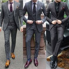 Men's Wedding Attire: Tips on How to Look Your Best on Your Wedding Day – KO Wedding Consulting Grey Suit Brown Shoes, Grey Suit Men, Mens Suits, Burgundy Shoes Men, Grey Suits, Black Shoes, Grey Suit Wedding, Wedding Men, Wedding Groom