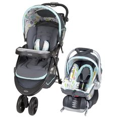 The Baby Trend Nexton Travel System - Mod Dot - includes an adjustable back infant car seat with an Flex-Loc stay in car base.