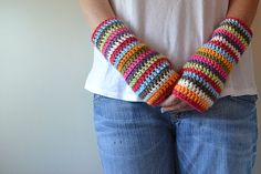 colorful stripey fingerless mitts pattern