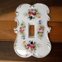 VTG Single Electric Light Switch Plate Outlet Cover Arnart Porcelain Rose Floral…