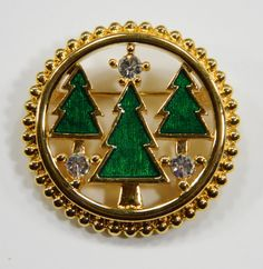 Monet Christmas Pin  3 Green Enamel Trees Rhinestones Gold Tone Setting Round 11468 epsteam by QueeniesCollectibles on Etsy