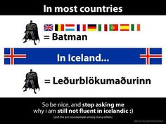 Repinned from pinner who said: I've lived in Iceland for years, and at the beginning had the insane idea of learning the language by myself. Of course it didn't work out, so I decided to apply to the practical Icelandic course t...