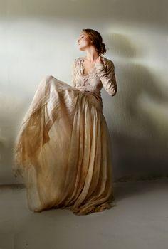 nuno felt dress by Vilte: silk & wool, natural dyes: black walnut vilte.net