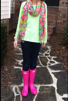Lilly scarf and Hunter boots