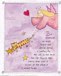 Cat art angel cats pets in heaven cats furever greeting card