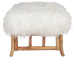 """Faux Mongolian Lamb Fur Ottoman (small) Dimensions: 19""""L x 17""""D x 16""""H in stock $225"""