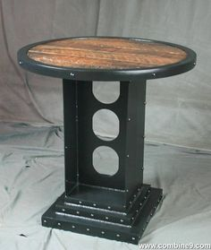 Vintage Industrial Bistro Table. Rustic Bar Table. Reclaimed