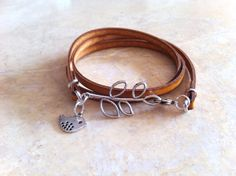 leather Brown bracelet. leather togo bracelet with by HITUK, €13.00