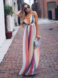 Stripe maxi summer dress in 2019 dresses vestidos, vestidos Backless Maxi Dresses, Striped Maxi Dresses, Sexy Dresses, Dress Outfits, Casual Dresses, Fashion Outfits, Summer Maxi Dresses, Vacation Dresses, Red Maxi