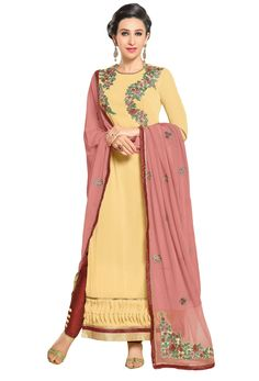 Semi #Stitched Off #Yellow Georgette #Shalwar #Kameez #nikvik  #usa #designer #australia #canada #freeshipping #ceremonial #pakistani