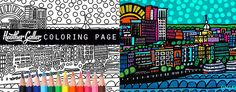 Savannah Georgia Skyline City Coloring Book Pages, Adult Coloring Cityscape Printable Instant Download