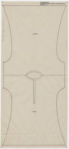Patroontekening van een katoenen hemd, gedragen door een vrouw. Schaal 1:4. 1948 #NoordHolland #Huizen