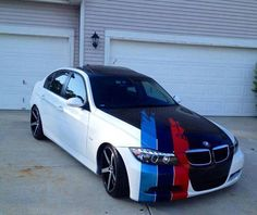 BMW 3 series white and black with ///M stripe Bmw X5 F15, Bmw Compact, E60 Bmw, Bmw 118, Bmw Performance, Bmw Love, Mercedes Car, Automotive Photography, Bmw 3 Series