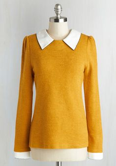 Wine Appreciation Sweater in Goldenrod - Yellow, Peter Pan Collar, Long Sleeve, Casual, Knit, Mid-length, White, Solid, Work, Vintage Inspired, Scholastic/Collegiate, Collared, Fall, Yellow, Long Sleeve, Press Placement